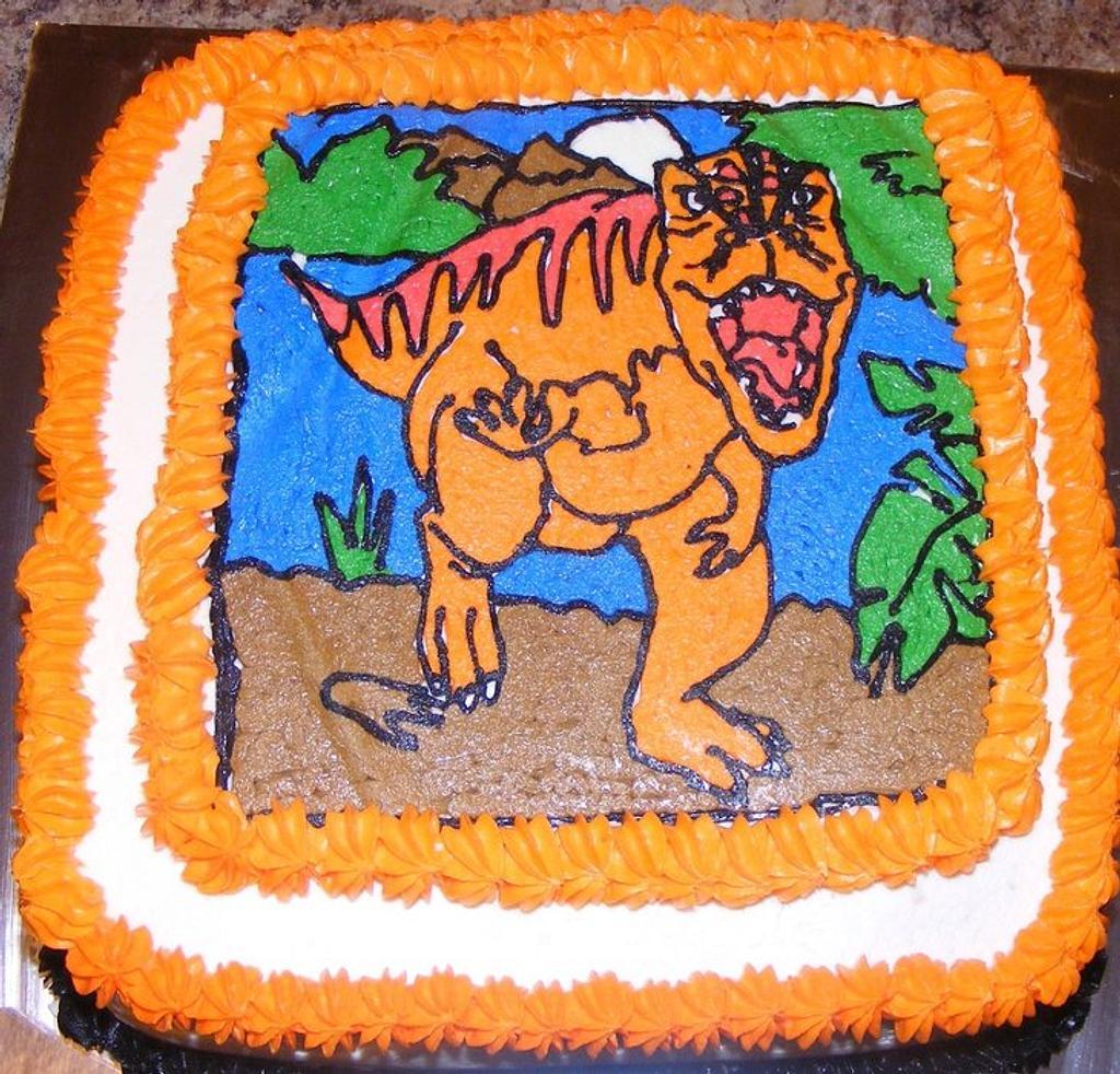 Dinosaur Buttercream Transfer by Rita's Cakes