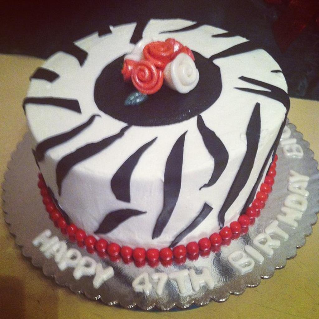 Zebra Print / Stripe Birthday Cake by Michelle Allen