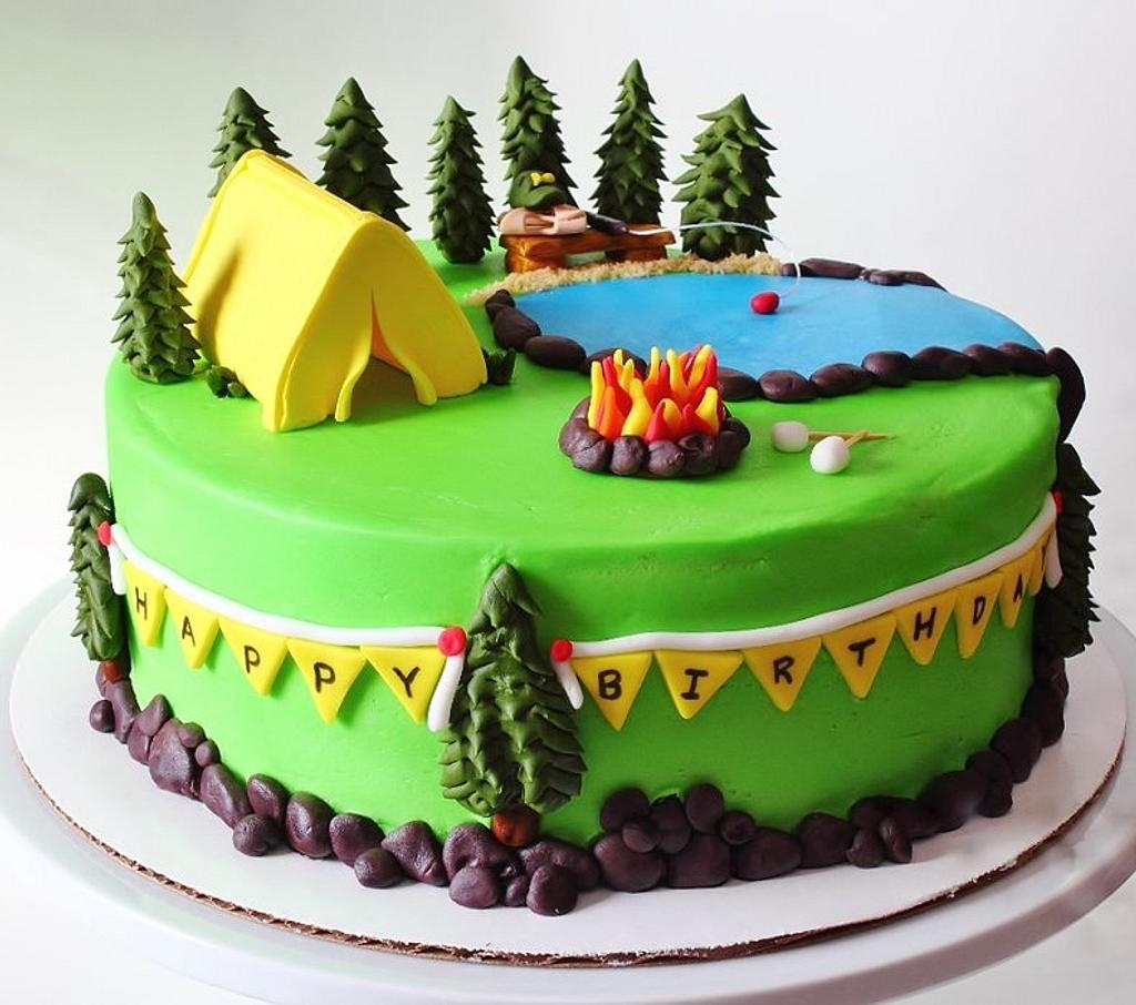 Camping Themed Cake by Fairycakesbakes