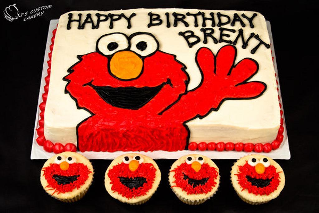 Elmo Cake and Cupcakes by Jenn