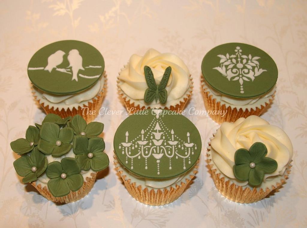 Sage Green Wedding Cupcakes by Amanda's Little Cake Boutique
