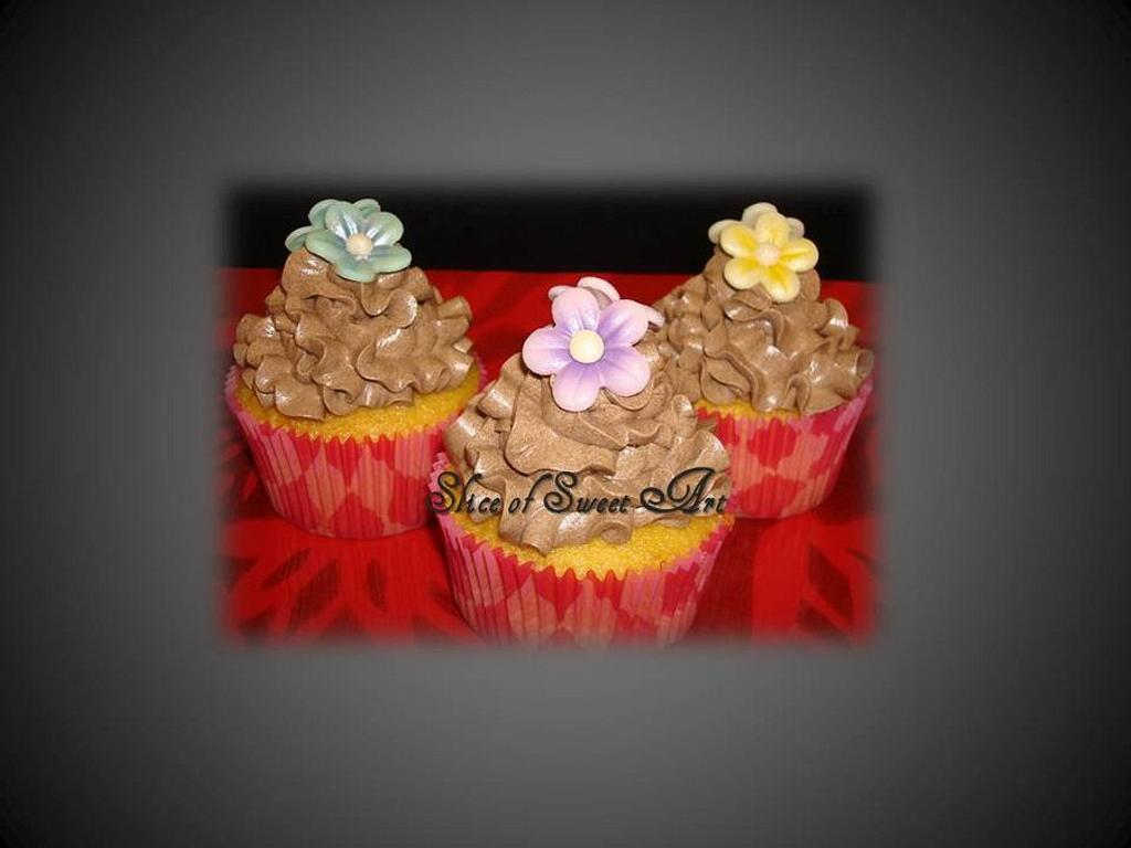 Chocolate Blossom Cupcakes by Slice of Sweet Art