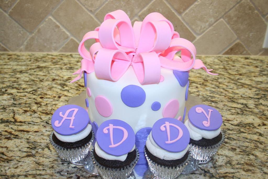 Polka dots & big bow cake by Cathy Moilan