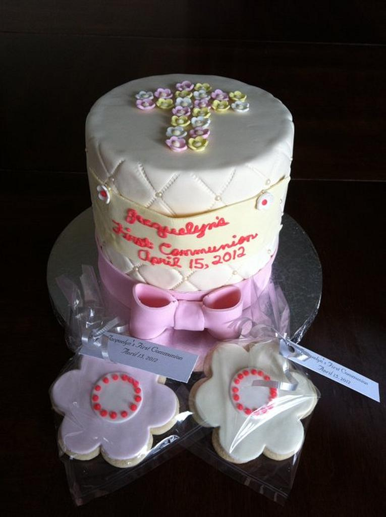 """Communion cake with cookie """"favours"""" by Cherlynn Michelizzi"""