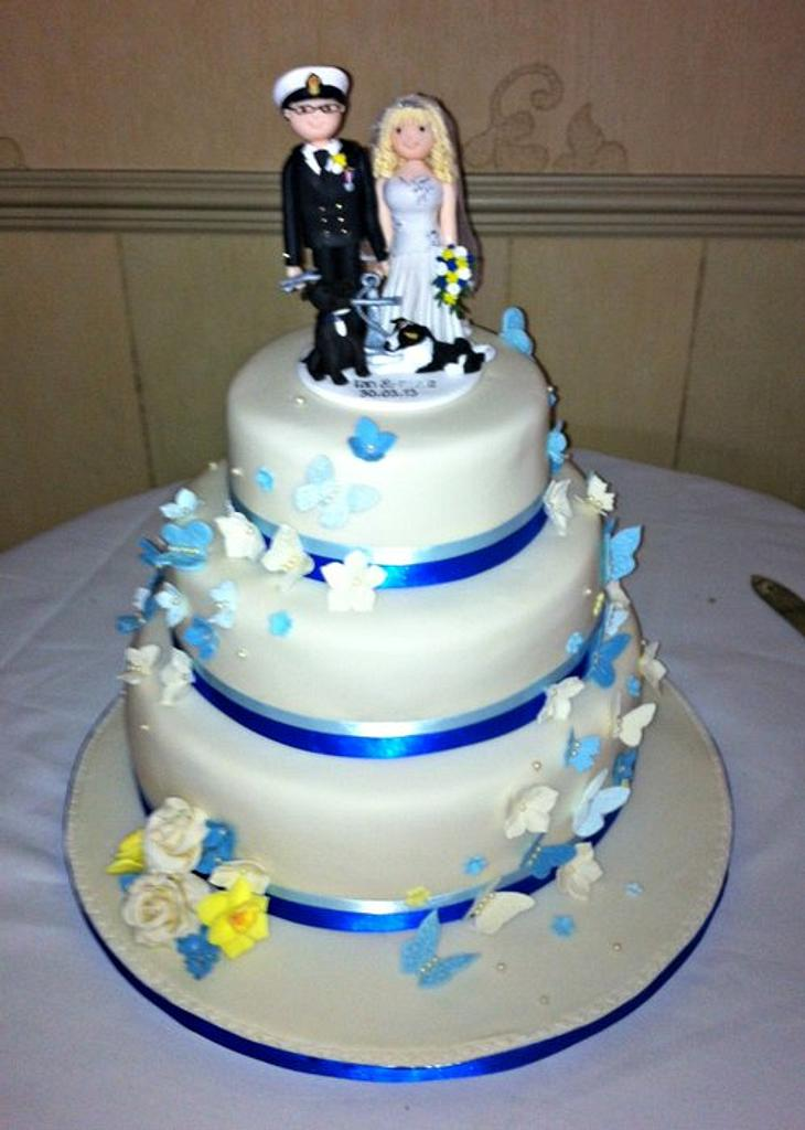 Blue Butterfly Wedding Cake by Corleone