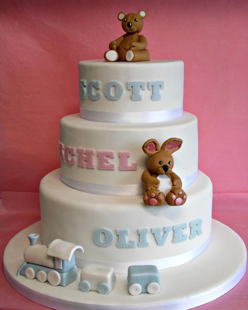 3 Tier Christening Cake  by yvonne