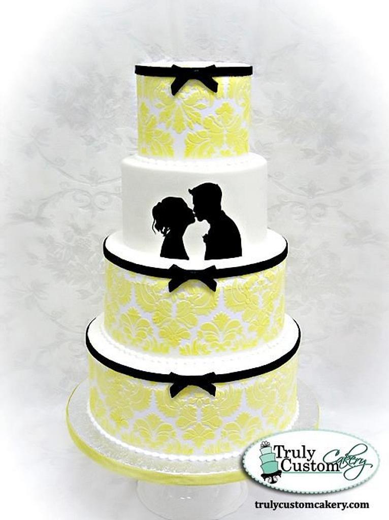 Black and Yellow Damask Wedding Cake by TrulyCustom
