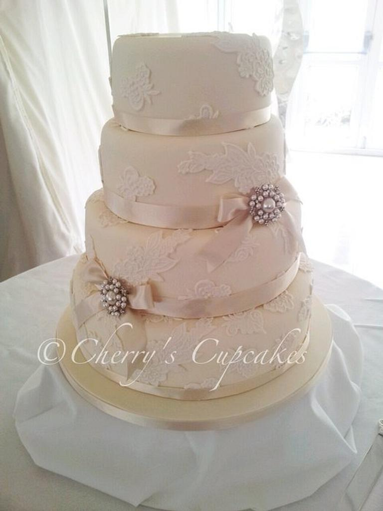 Pearl & Ivory Lace Wedding Cake by Cherry's Cupcakes