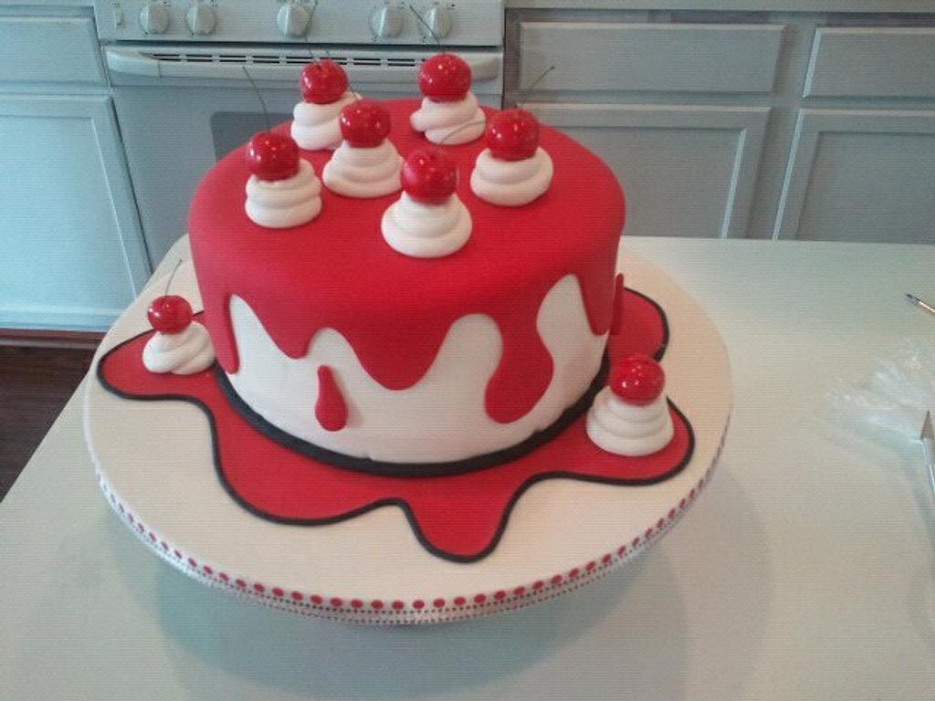 Drippy Cherry Cake by Kristi's Cakery