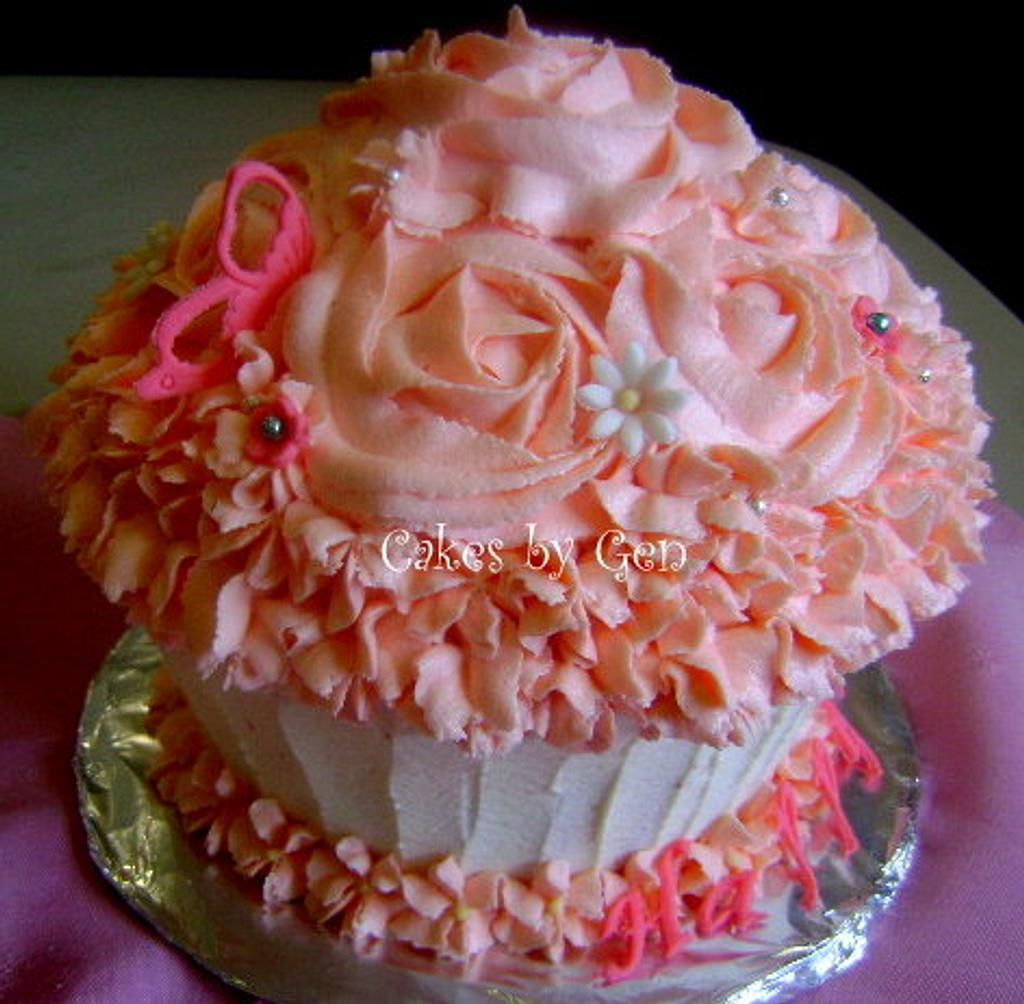 Vanilla Buttercream Rose Swirl Giant Cupcake by Gen