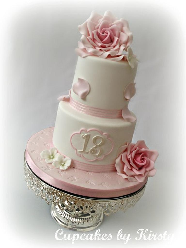 Pretty Two Tier 18th birthday Cake  by Kirsty