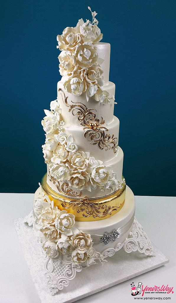 Cascading Foral Bouquets with a Golden Tier Wedding Cake by Serdar Yener   Yeners Way - Cake Art Tutorials