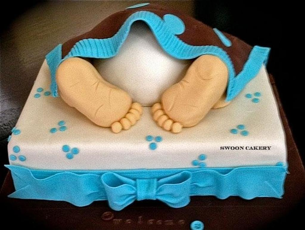 Baby Rump Baby Shower Cake by SwoonCakery
