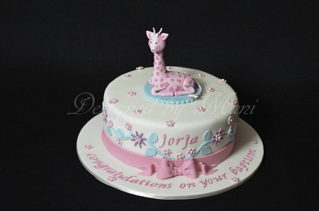 'sophie the giraffe' christening cake by designed by mani