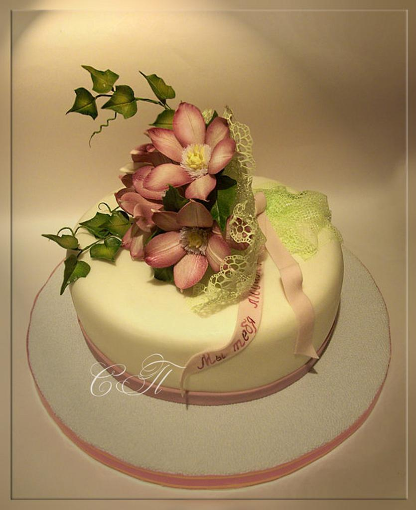 Cake with flowers by Svetlana