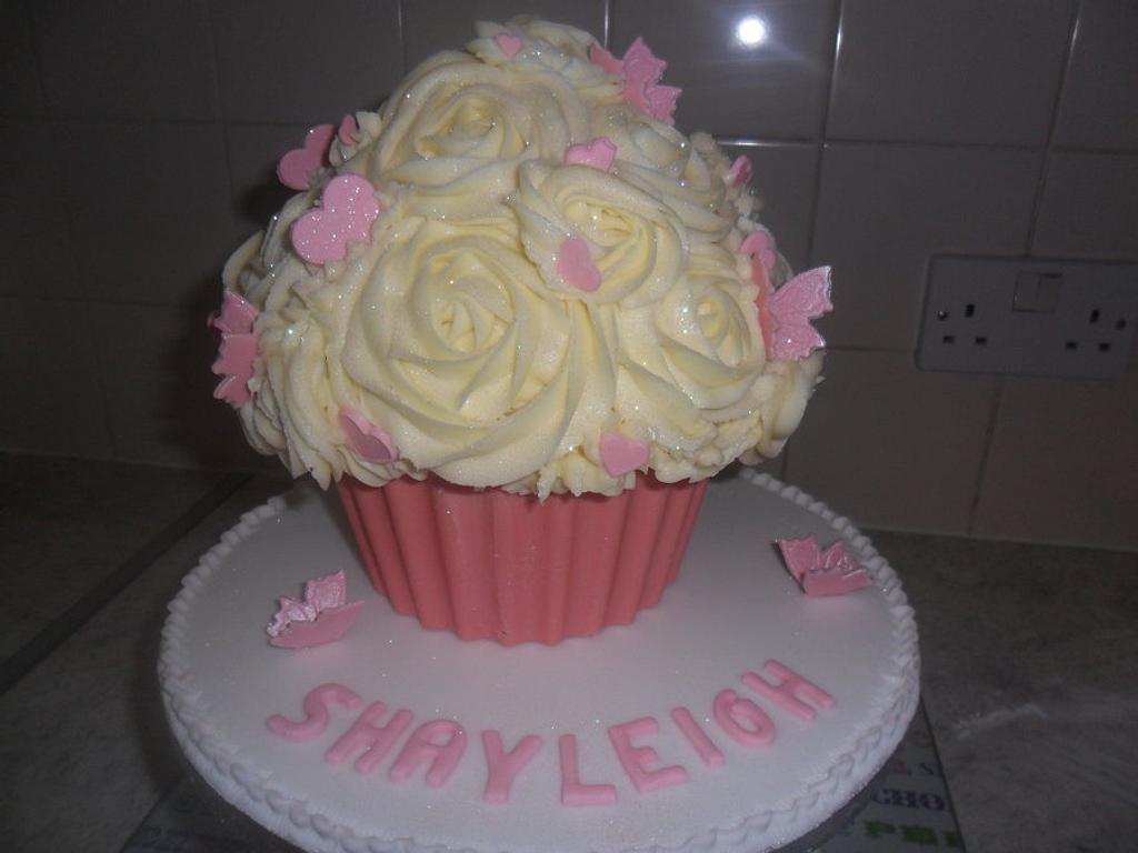 large giant pink vanilla cupcake by elizabeth