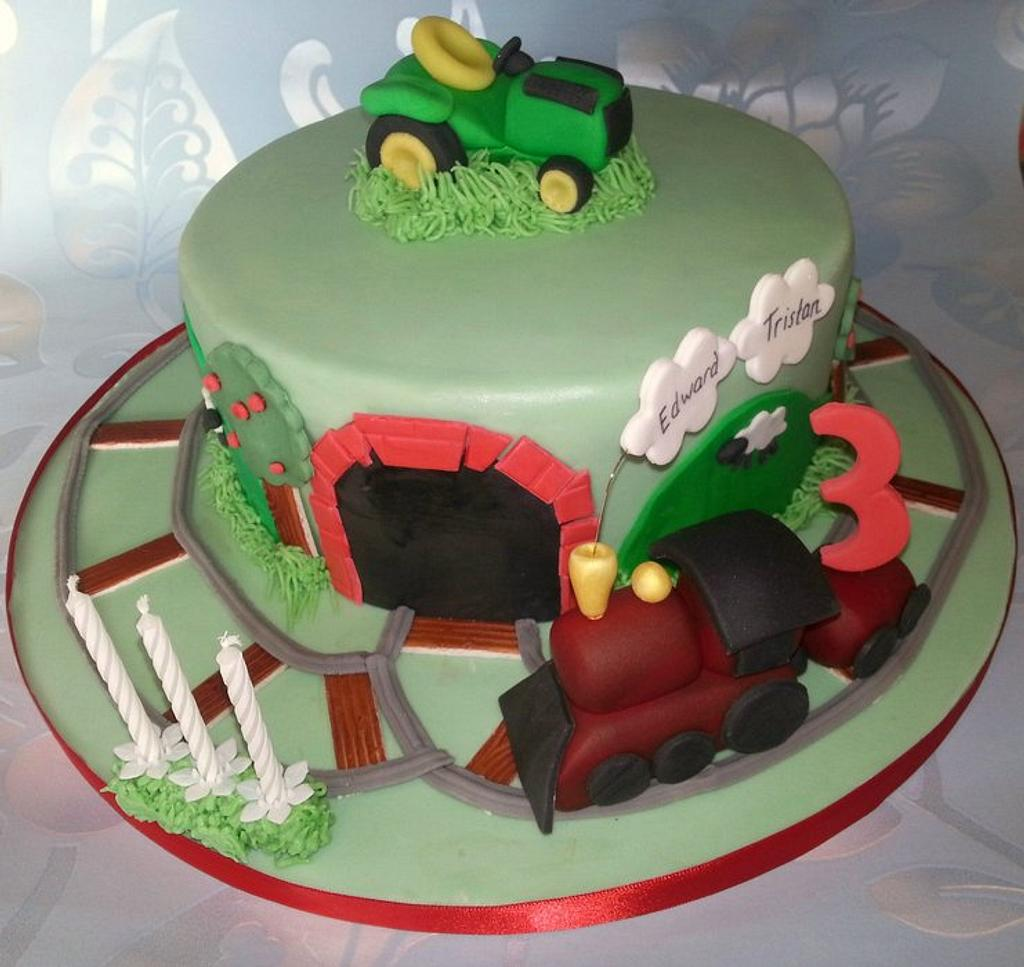 Train & tractor cake by That Cake Lady