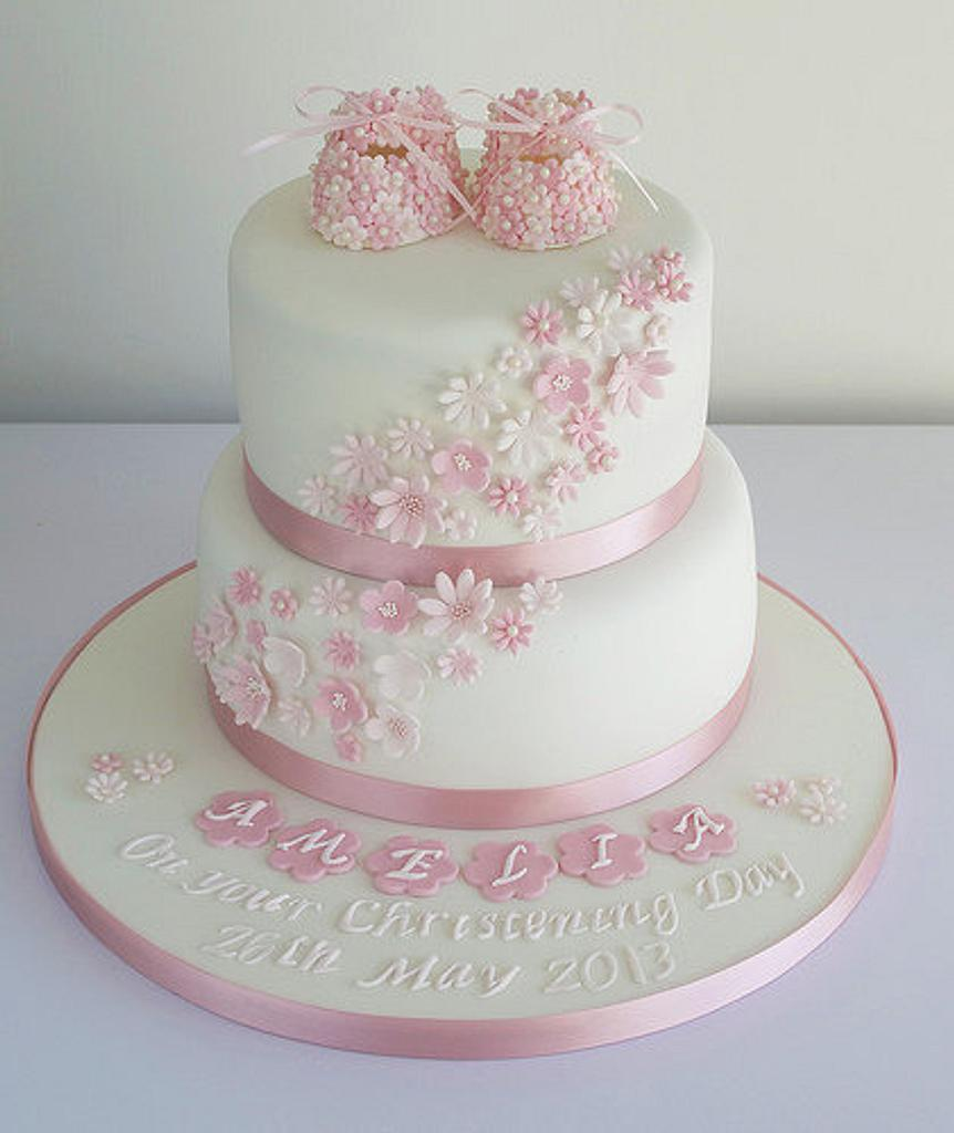 Girls Christening Cake by Sugar Ruffles