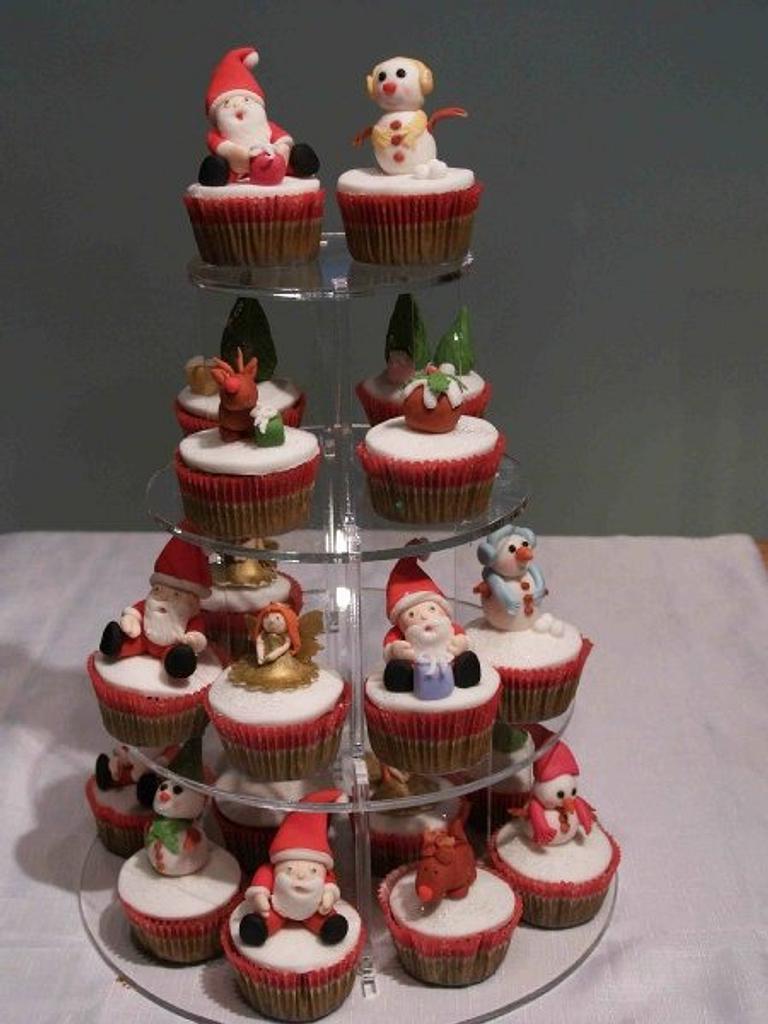 Christmas cupcake tower by Rachel