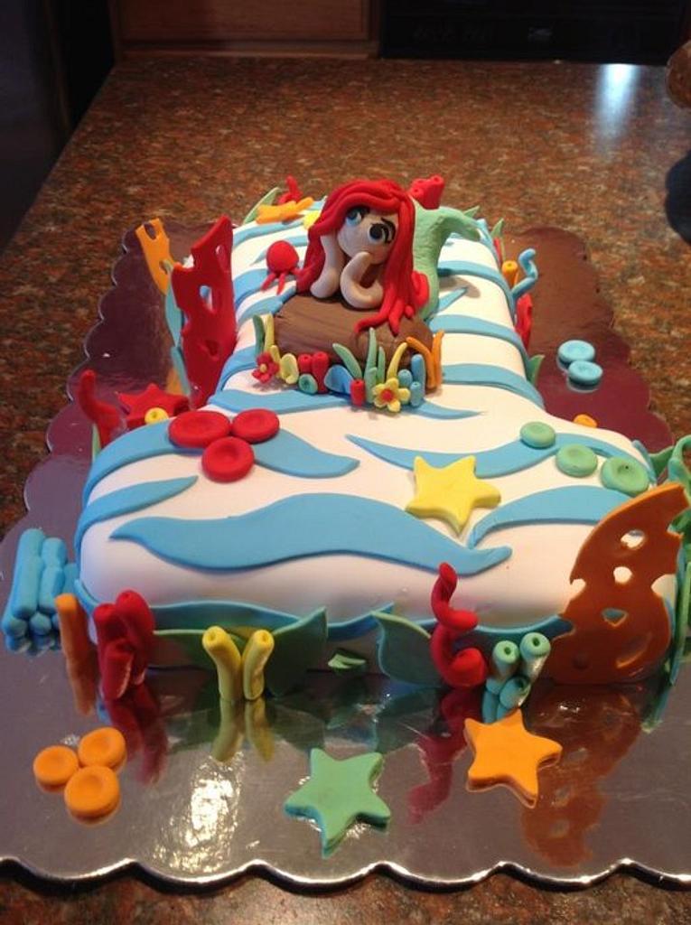 One year little mermaid cake!!! by luz m sida