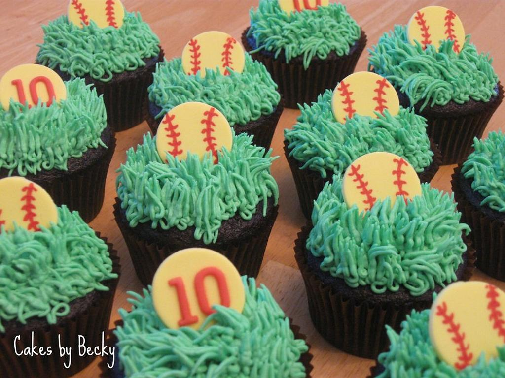 Softball Birthday Cupcakes by Becky Pendergraft