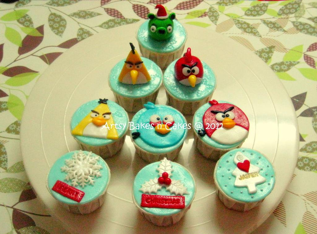 Angry Birds Christmas Cupcakes by Joelyn Wong