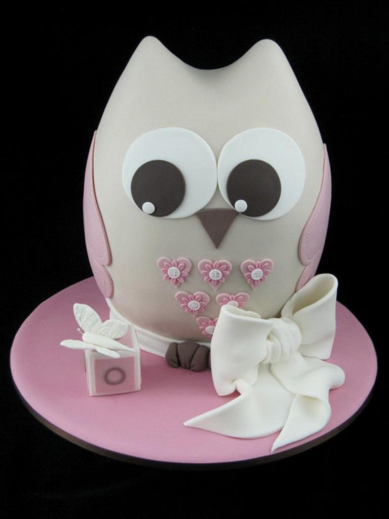 Owl Christening Cake by InspiredbyMichelle