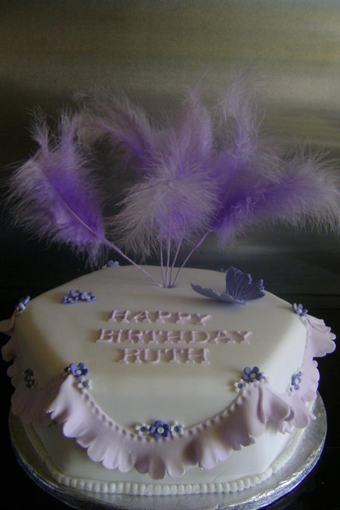 lilac frill and feathers by Beverley Childs