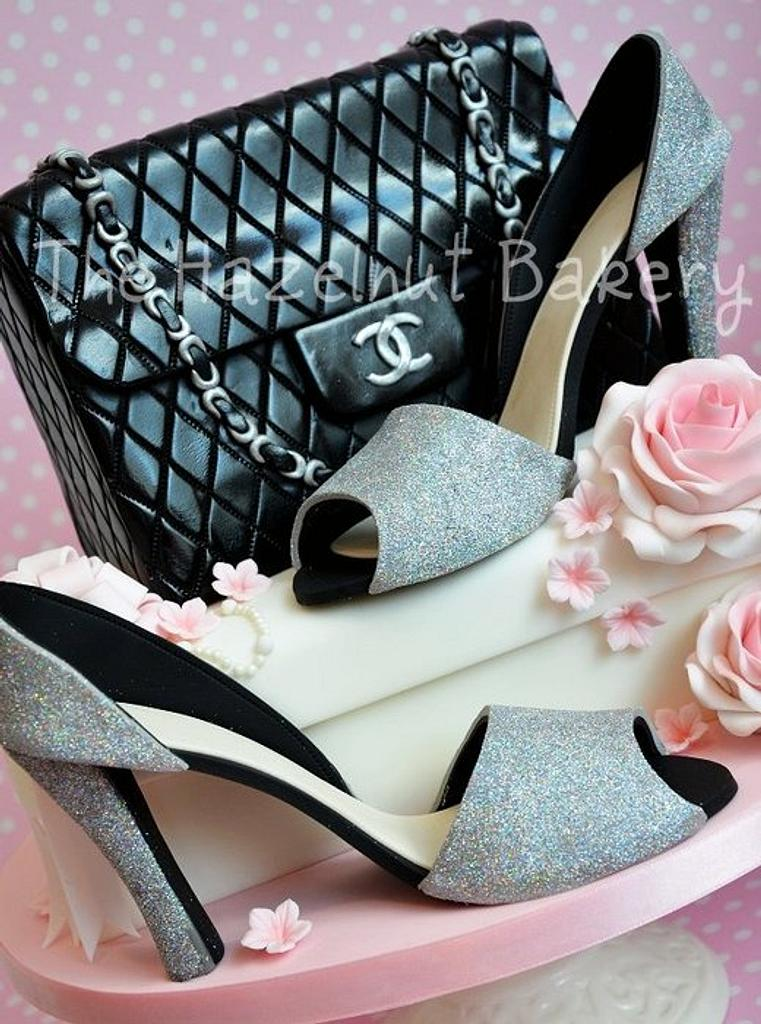 Sparkly shoes and Chanel handbag cake! by HazelnutBakery