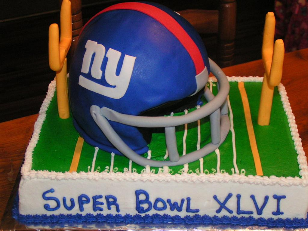 Giants Super Bowl cake by Cake Creations by Christy