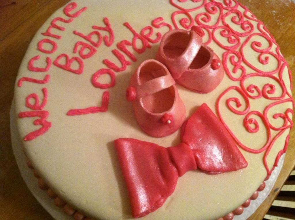 Baby Shower Cake -Pink Baby Shoes by Shameless Sweets by Sarah