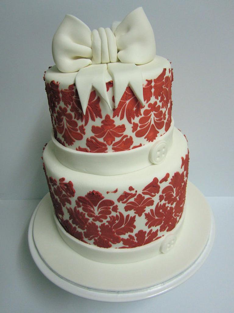 Red Damask Cake with Giant Bow by Lydia Evans