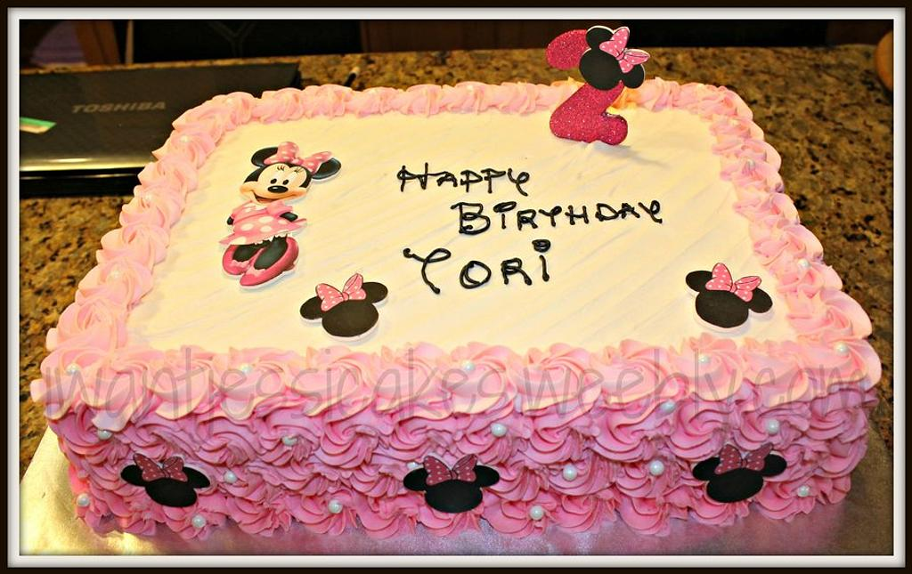 Minnie mouse sheet cake by Jessica Chase Avila