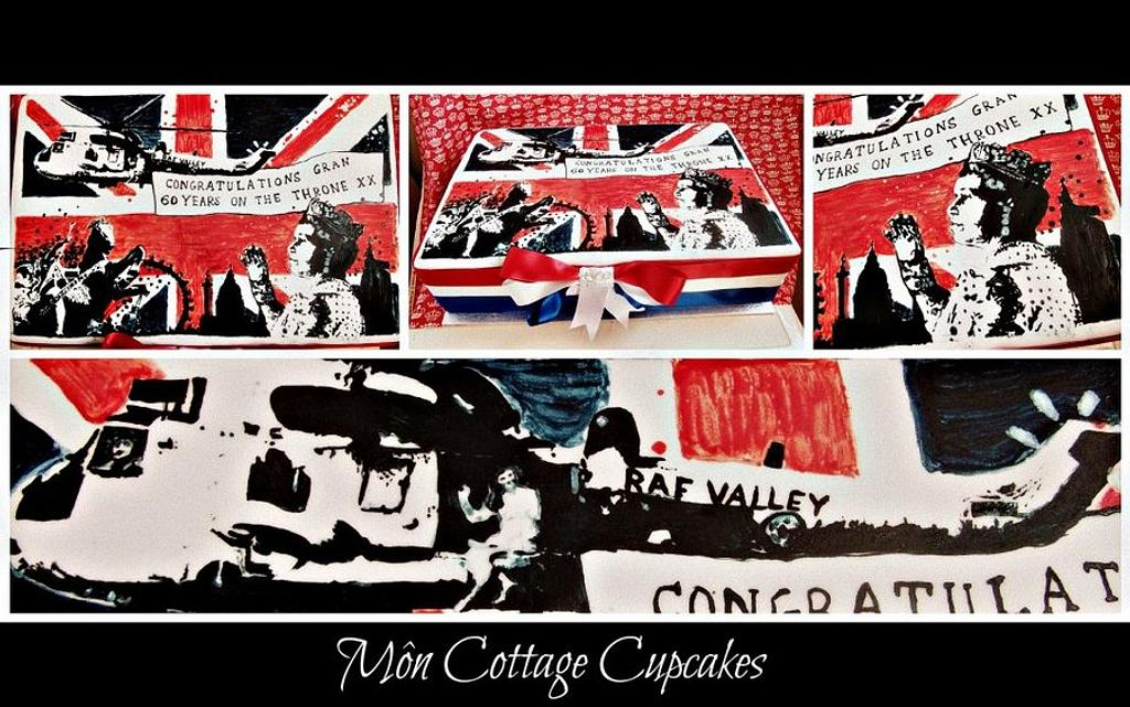 Bansky style hand painted Jubilee cake by Môn Cottage Cupcakes