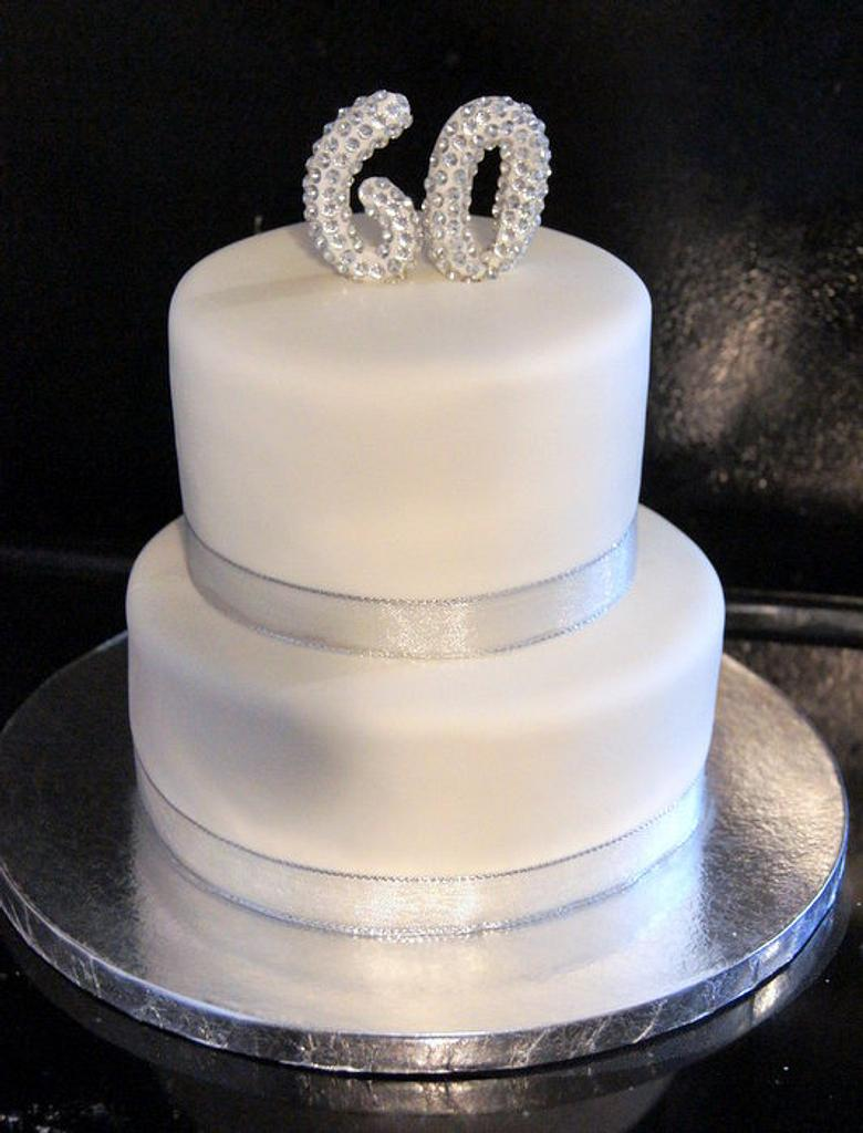 60 silver  birthday cake by Sylvia Cake