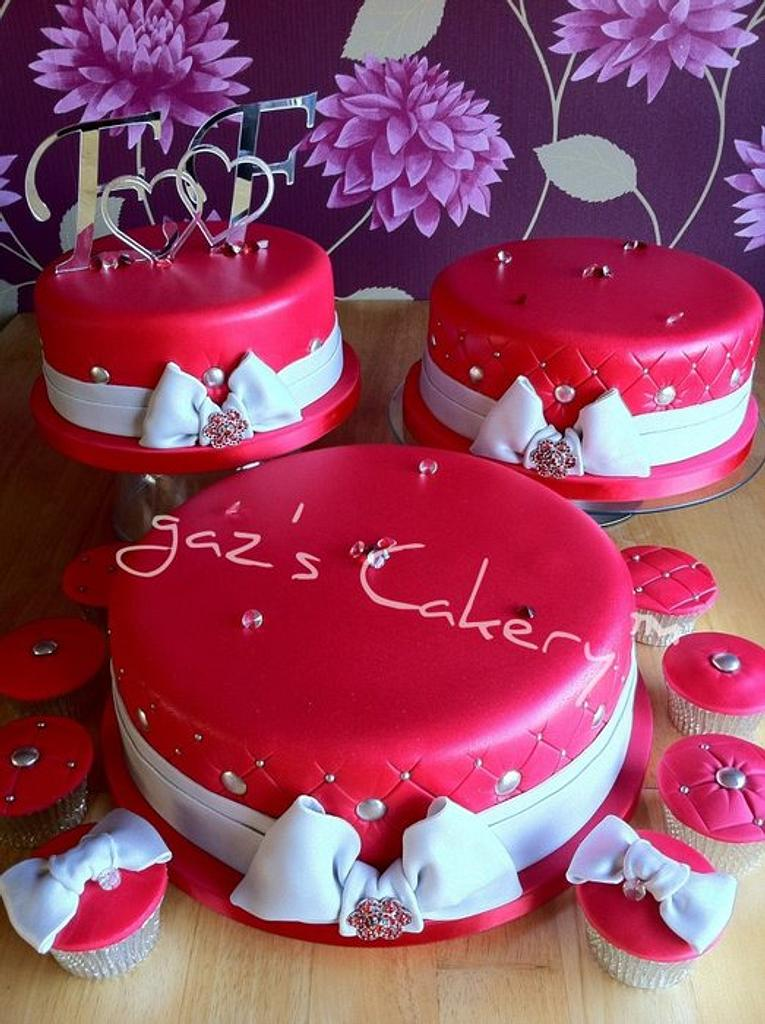 Red and Silver Wedding Cake by GazsCakery