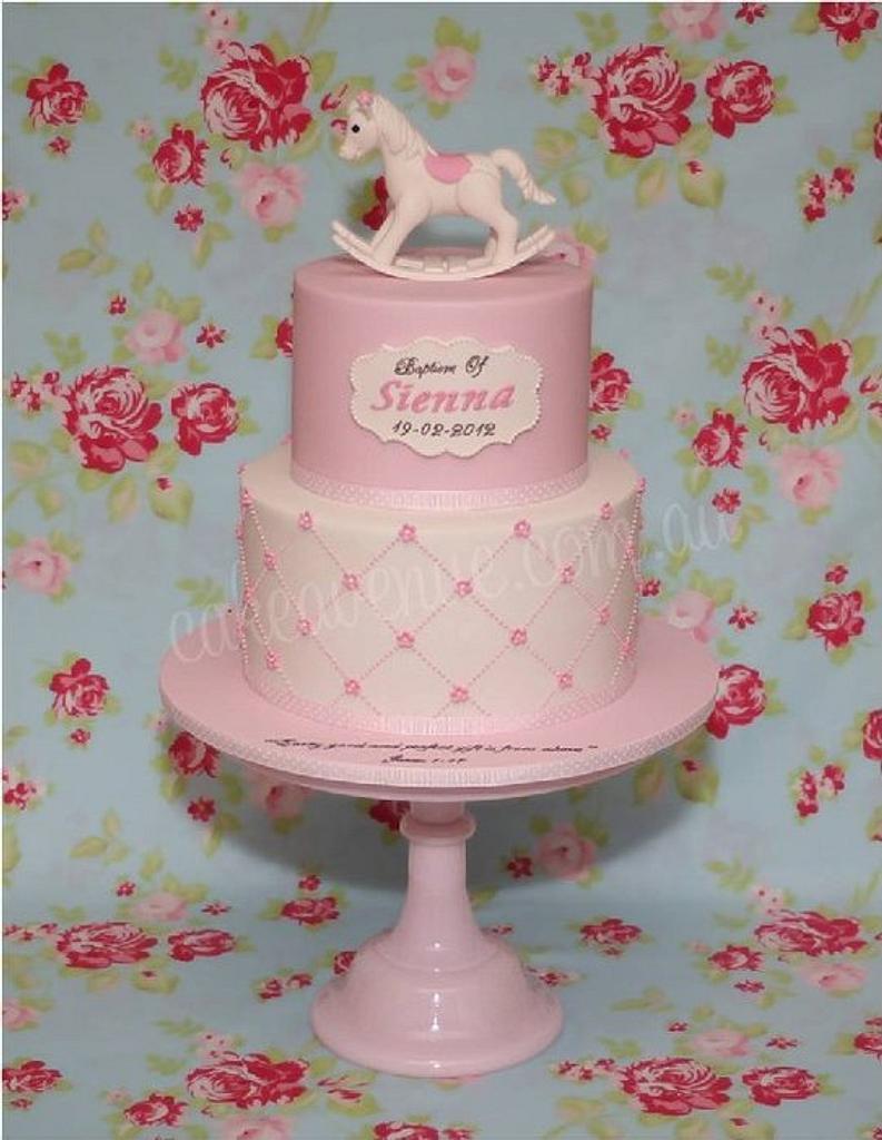 Rocking Horse Christening Cake by CakeAvenue