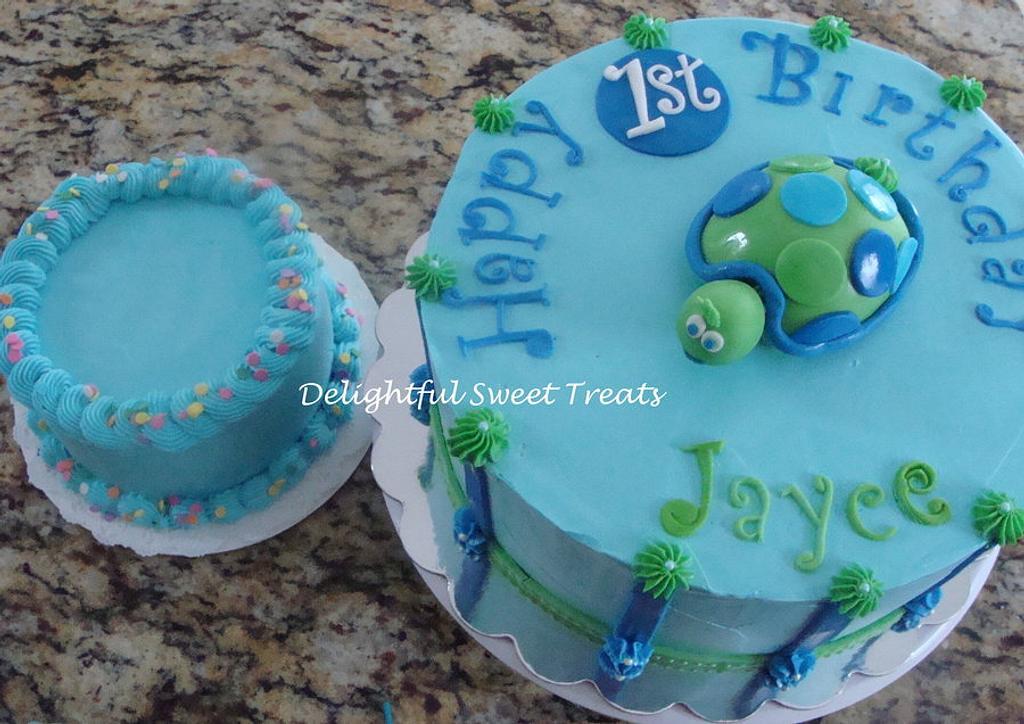 1st Birthday Turtle cake by Kathleen