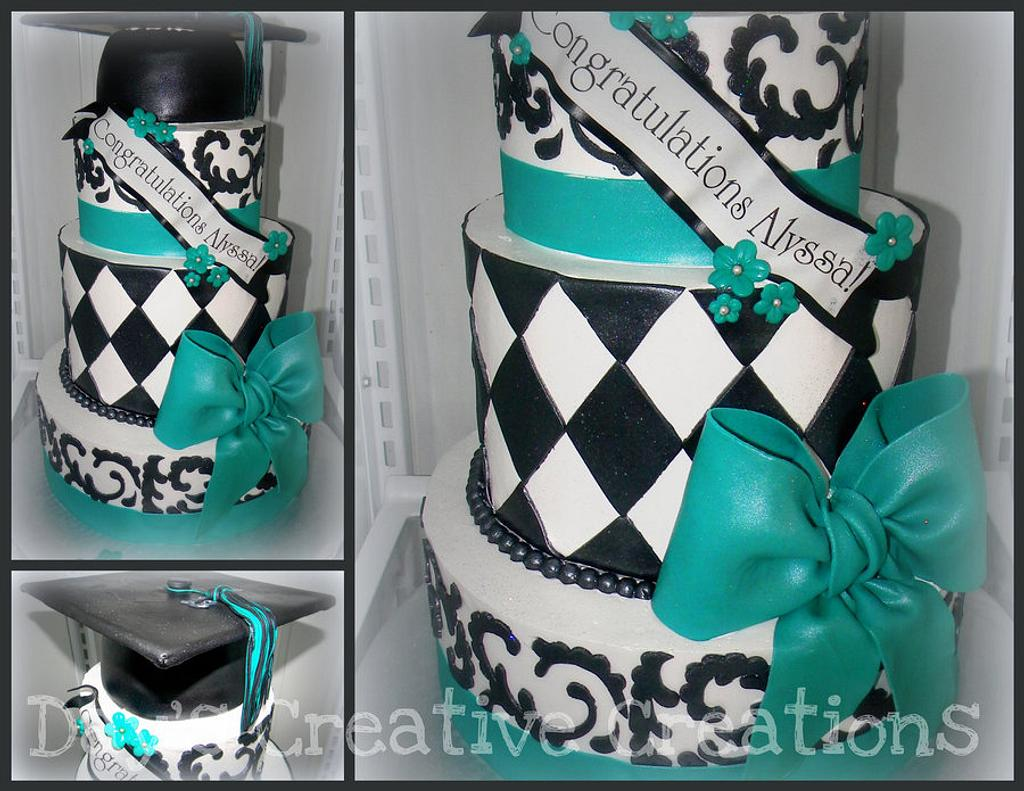 Teal and Black scroll Grad cake by Day
