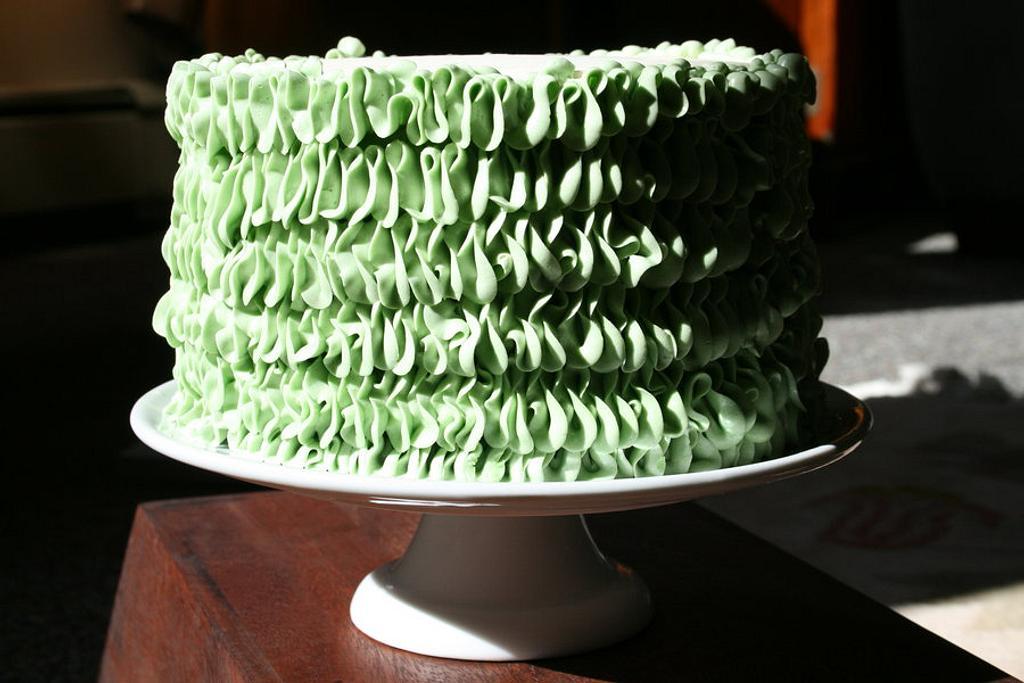 "Green ""Leaf Tip"" Ruffle cake by Rachel Skvaril"