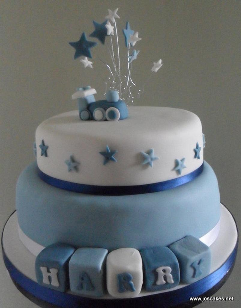 Train Themed Blue and White Christening Cake by Jo's Cakes