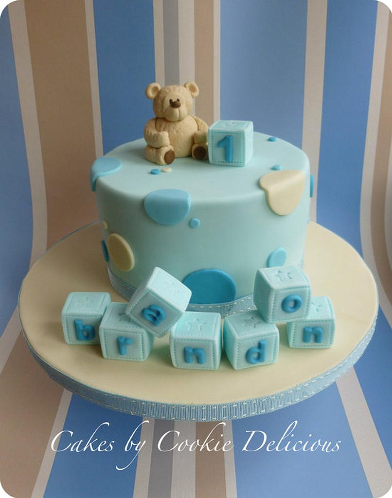 Baby Brandon's 1st Birthday Bear by Cookie Delicious