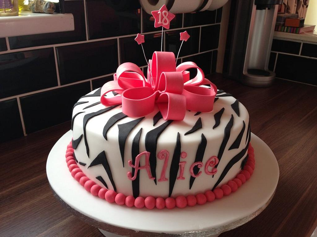 Zebra print bow cake by Candy Apple Bakery