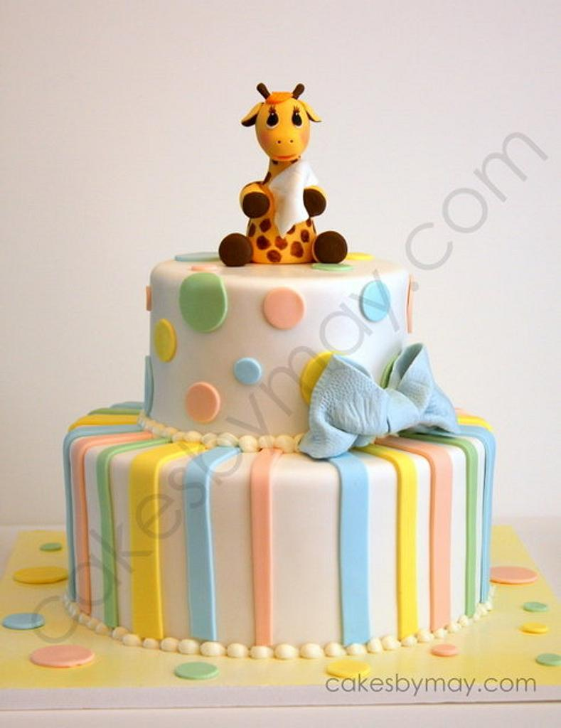 Giraffe Baby Shower Cake by Cakes by Maylene