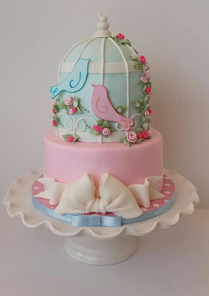 Love bird Baby Shower CAke by Christie's Custom Creations(CCC)