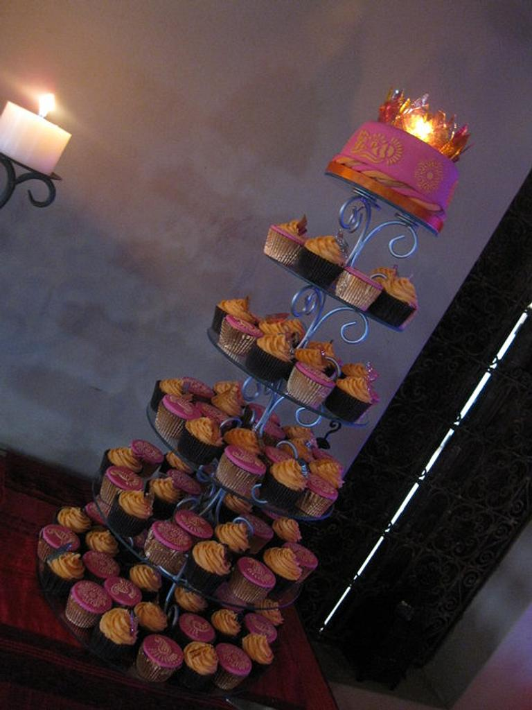 Moroccan Themed wedding cake and cupcake tower  by Jo