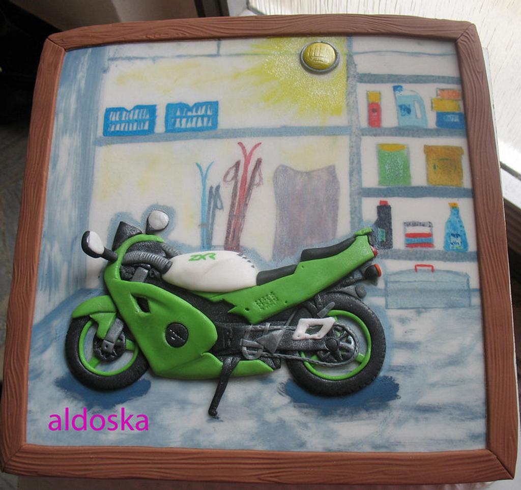 Kawasaki motorcycle in the garage by Alena