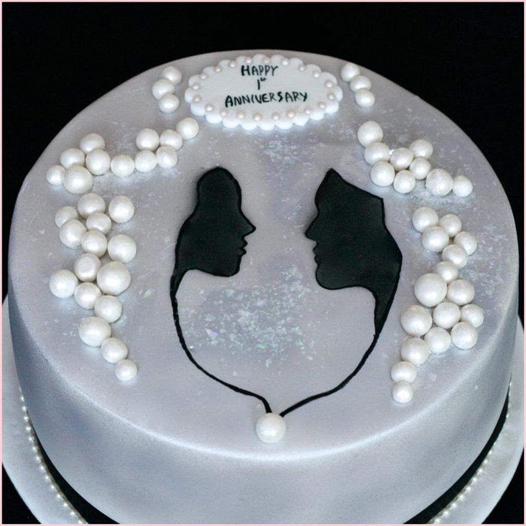 Black and White anniversary cake by Flourbowl Cakes