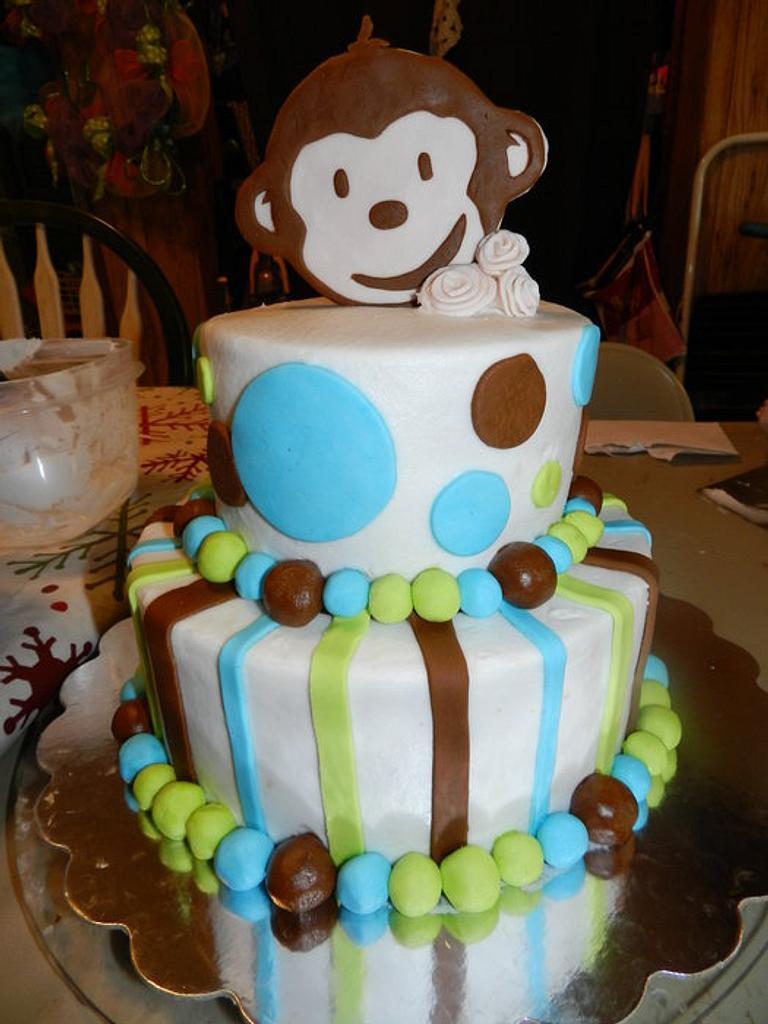 Monkey baby shower cake by AneliaDawnCakes