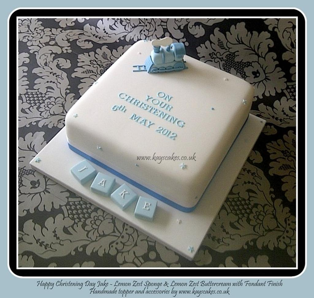 Train Christening Cake by Kays Cakes